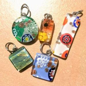 Lot of Italian Murano glass pendants